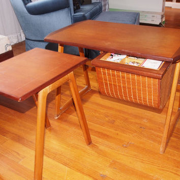 Mid Century Norway Teak nested Side Tables