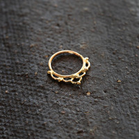 Septum - flower power - 14k yellow solid gold - gold Nose Ring- nose jewelry - septum ring - fairy jewelry - nose piercing