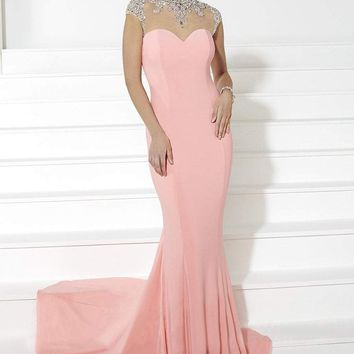 Tiffany Designs - 16075 Silver Beaded High Neck Illusion Svelte Long Jersey Gown