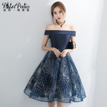 PotN'Patio Elegant Boat Neck Short Prom Dresses 2017 New Navy Blue Homecoming Dresses Semi Formal Dresses For Juniors