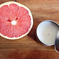 Soy scented candle grapefruit lemon grass citrus aluminum container yoga Valentine's Day gift for her hand made bridesmaids gift hostess