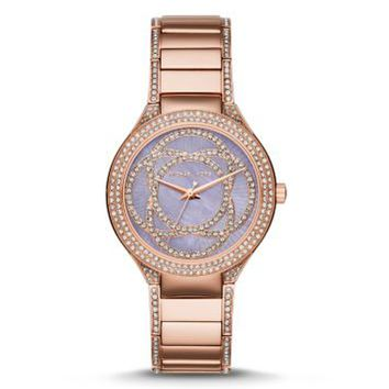 Kerry Pavé Mother-of-Pearl and Rose Gold-Tone Watch | Michael Kors