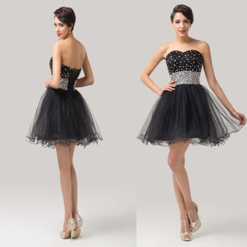 Grace Karin Beaded Strapless Black Short Homecoming Bridesmaid Wedding Dresses Prom Dress GK = 5739057729