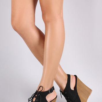 Qupid Nubuck Slingback Mule Wooden Wedge