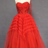 Cherry Red Tulle 1950's Prom Dress w/ Ruffles & Sequins VINTAGEOUS VINTAGE CLOTHING
