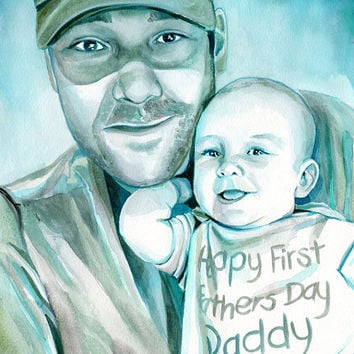 FATHER and SON PORTRAIT - Special gift for father - Gift for dad - Watercolor custom portrait - dad gift - Father gift