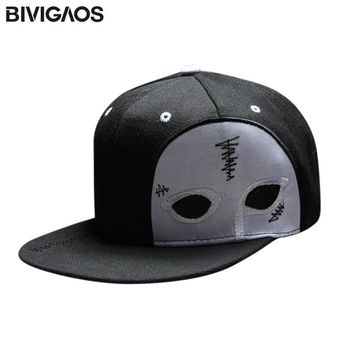 Trendy Winter Jacket BIVIGAOS Men Womens Gorras Snapback Cap Half Face Mask Black Ghost Dance Cap Hip Hop Hats Baseball Caps Gorro For Men Women AT_92_12