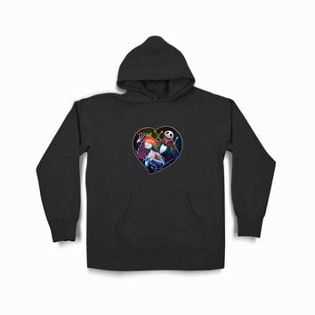 Jack And Sally Nightmare Before Christmas White Copy Tya Black Hoodie