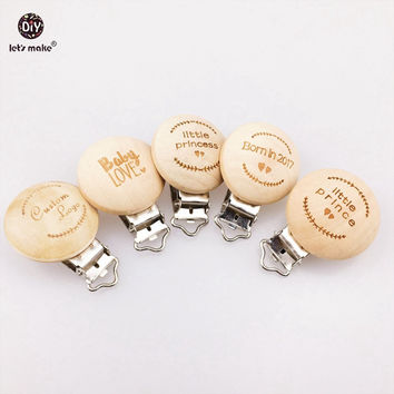 Let's Make Pacifier Clip 50pc Round Wooden Engrave Customizable Personalise Wooden Dummy Clip Accessory Charms Baby Teether
