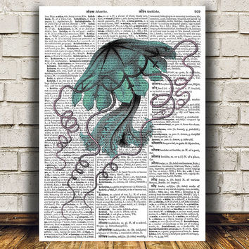 Jellyfish art Marine print Beach house print Nautical poster RTA1085