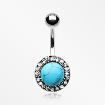 Turquoise Karma Circle Sparkle Loop Belly Button Ring
