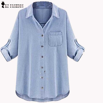Plus Size XXXXXL 5XL-XL Woman Denim Blouses 2016 Feminine Blusa Jeans High Street Style Pocket Jean Shirt Vetement Femme T64601R