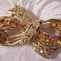 Orange Green Bow Ribbon Pin Brooch Gold Tone Vintage Rhinestone Large Round Ribbed