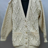 Knit in England - Brooks Brothers Cardigan - 100% Wool Aran Sweater - Thick Knit Fisherman Style - Off-White - Irish Cables