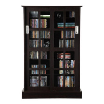 576 CD or192 DVD Blu-Ray Glass Door Media Cabinet Dark Brown Home Furniture