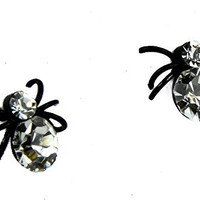 Clear Stone Black Widow Spider Stud Earrings Elegant Lolita Style Cosplay