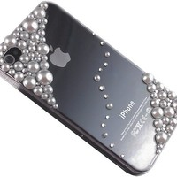 Bling Swarovski Crystal White Pearl Case Cover for Iphone 4 & 4s Handcrafted by TEAM LUXURY