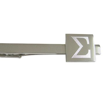 Silver Toned Etched Mathematical Greek Sigma Symbol Pendant Square Tie Clip