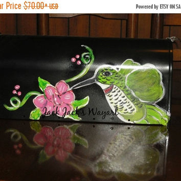 Year End Sale Hand painted maid mailbox © Jack Jack'lbox Custom painted mailboxes Hummingbird design mailbox Rural mailboxes Custom designe