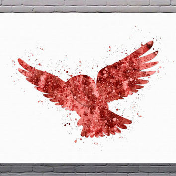 Owl Flying Watercolor Art Print Instant Download