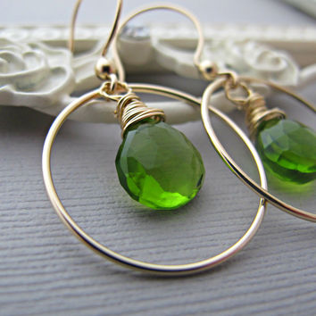 Gold Peridot Earrings, Peridot Faceted Gemstones, Wire Wrapped, Hoop Earrings, Green, 14k gold fill, August Birthday, August Birthstone