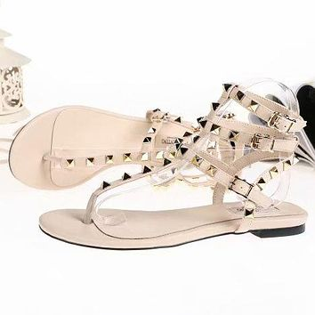 Valentino Classic Summer Popular Women Multicolor Leather Rivet Bandage Flat Sandals Shoe Apricot I-ALS-XZ