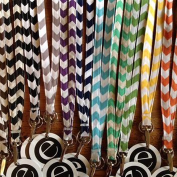 Chevron Stripe Fabric BREAKAWAY LANYARD Gift with gift tag - WRAPPED