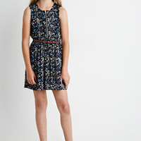 Belted Zip-Front Floral Dress (Kids)