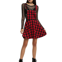Red & Black Plaid Overall Dress