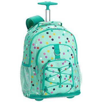 Gear-Up Mint Confetti Multi Dot Rolling Backpack