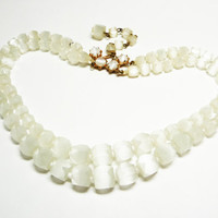 Swarovski Beaded Multistrand Necklace - White Satin Glass Cube Beads - Vintage Brides Wedding Jewelry