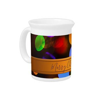 Multicolored Christmas lights. Add text or name. Beverage Pitcher