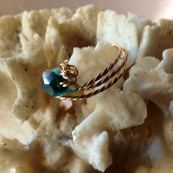 Jewelry Children's Gold Girls Ring, Boho Handmade Size 3 Wire wrap Lady toe or pinky Ring, Green Swarvoski Crystal, Girls or Lady Pinky Ring