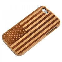 Generic Hand Carved US Flag Wood Phone Case For iPhone 5 Color Wood