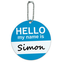 Simon Hello My Name Is Round ID Card Luggage Tag