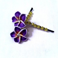 Purple and yellow polymer clay plumeria flowers wire wrapped Bobby pins, hair accessories, gifts for her