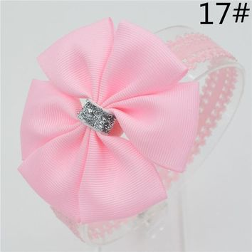 ESBON Baby girl hair bowknot ribbon Headband  newborn toddler bow flower Hair Band Handmade hair accessories for children