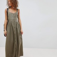 ASOS Linen Button Through Maxi Dress at asos.com