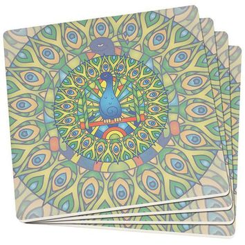 PEAPGQ9 Mandala Trippy Stained Glass Peacock Set of 4 Square SandsTone Art Coasters