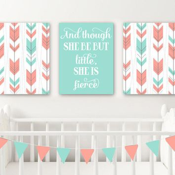 Arrow Tribal Girl Nursery Decor, Canvas or Prints, Girl Boho Tribal Nursery Quote Wall Art, She Be But Little She is Fierce. Set of 3 Decor