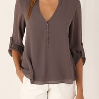 Brown V-neck Button Detail Dip Back Blouse