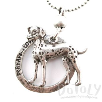 Cute Dalmatian Shaped Pendant Necklace in Silver | Jewelry for Dog Lovers