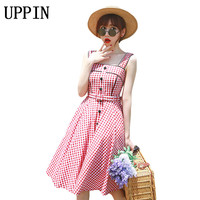 UPPIN 2017 Summer Women's Sweet Plaid Button Mid Calf Dress Slim Waist Sleeveless Plaid Female Vestido Dress Mori Girl Cute