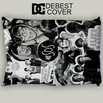 One Direction 5Sos Collage Pillow Case In 20 x 30 Inches