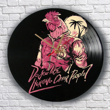 Hotline Miami painted vinyl record clock, Wall clock. Gift for gamer