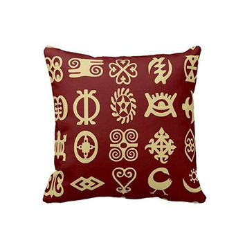 Adinkra African Symbols Luxury Printing Throw Pillow Cover Twin Sides Printed Home Decor