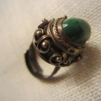Green Jade Silver Compartment Ring Marked JE Sterling