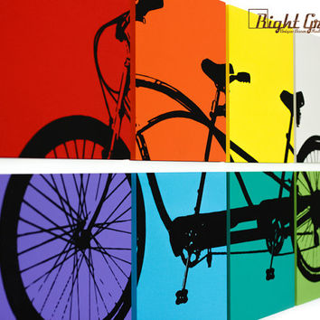Multicolored Tandem Bicycle Wall Art - Large Bike Screen Print - 24x48 Custom Made