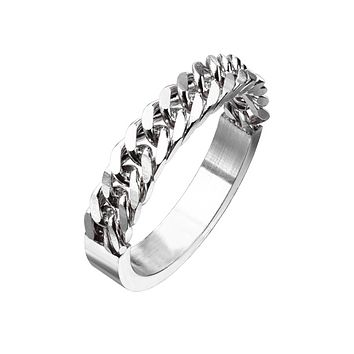 Chain Of Love In Silver - Unisex Stainless Steel Half Circular Chain Ring