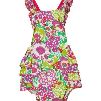 Pink and Green Hawaiian Floral Bubble Romper
